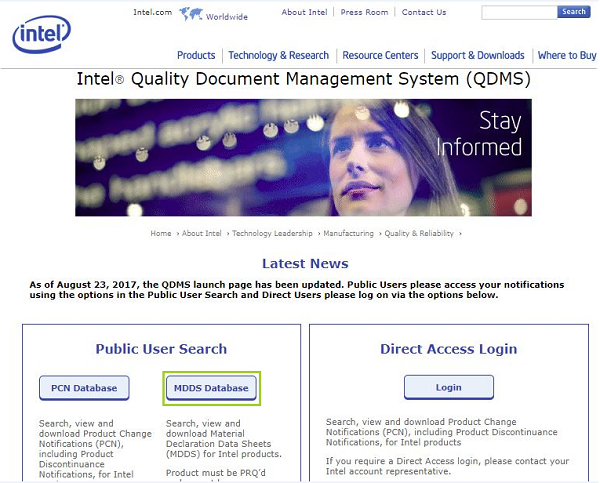 Click on MDDS Database