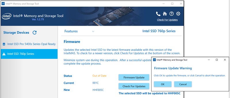 Firmware Update page