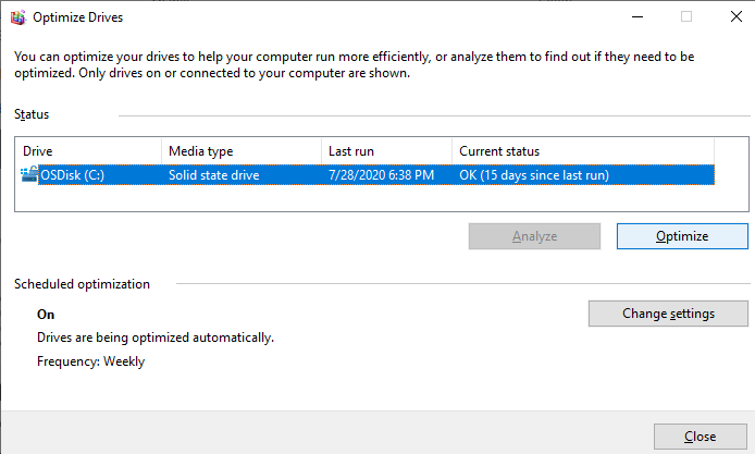 Click on the drive to be optimized to select it