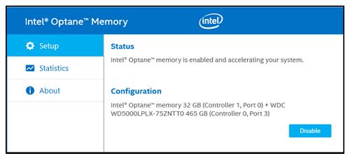 Intel® Optane™ Memory User Interface