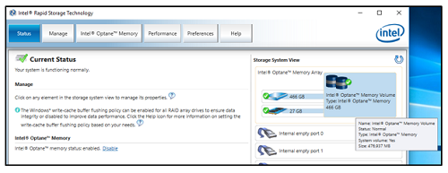 Intel® Rapid Storage Technology User Interface