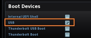 USB Boot option enabled