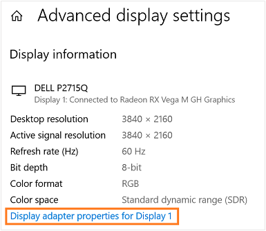 Display adapter properties