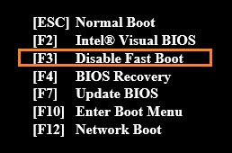 Using Fast Boot in Intel® Visual BIOS
