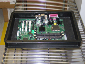 store board in ESD tray