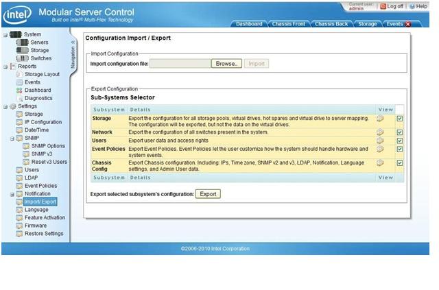 Modular server control configuration import export