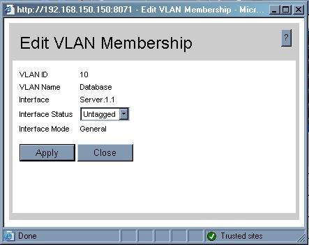 Edit VLAN membership Server 1.1