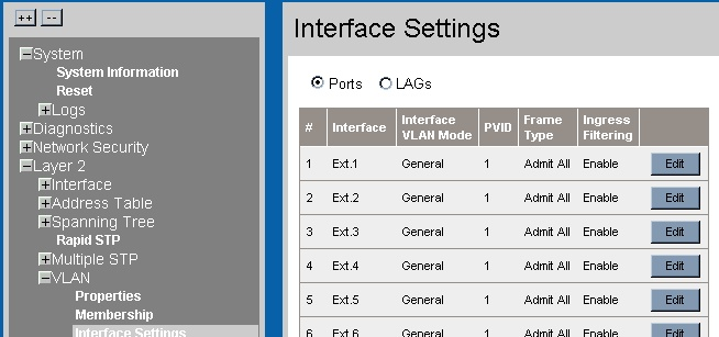 Advanced configuration interface settings