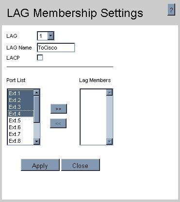 LAG Membership settings