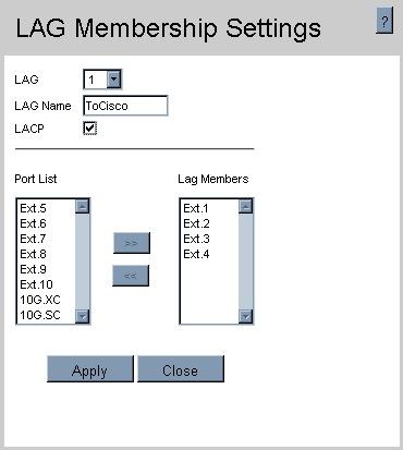 LAG Membership settings with LACP