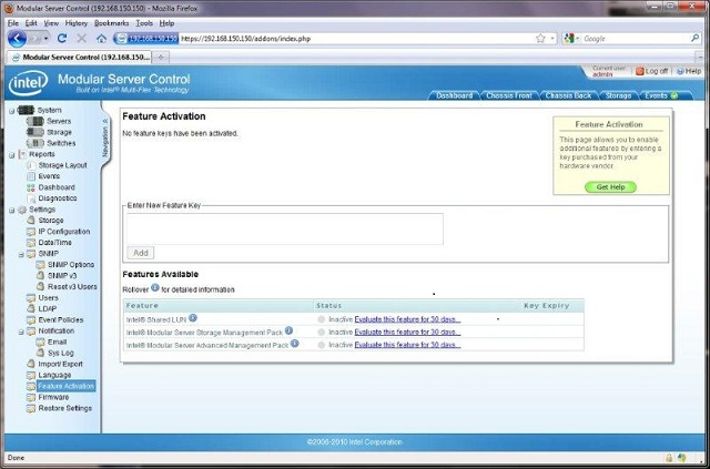 Modular server control feature activation