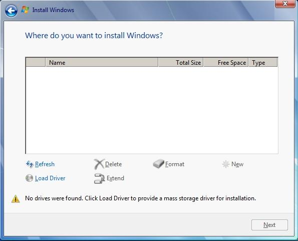 windows installer with no detected hard drives