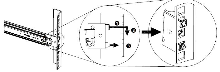 Image depicting process for installing the slide rail to rack.