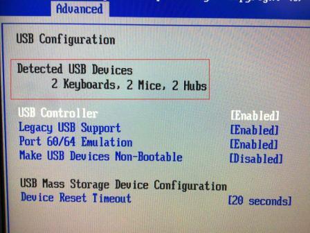 BIOS under USB Configuration