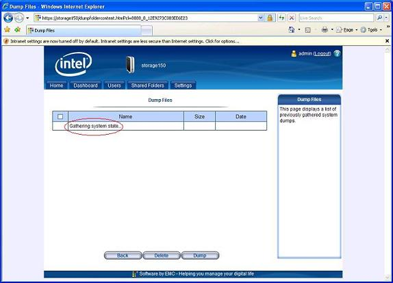 "Screenshot of the  Intel® Entry Storage System manager highlighting the ""Gathering System State"" indicator"