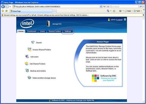 Screenshot indicating the location of the setting tab in the Intel® Entry Storage System manager