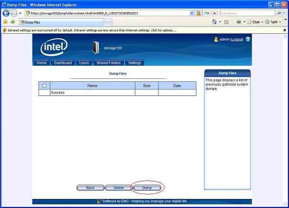 Screenshot of the Intel® Entry Storage System manager and the dump file