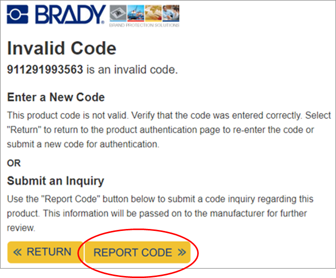 brady report code link location
