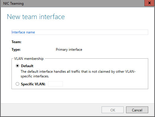 New team dialog box