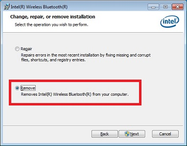 "Screen shot of the Intel Bluetooth Software Installer indicating the location of the ""Remove"" radio button"
