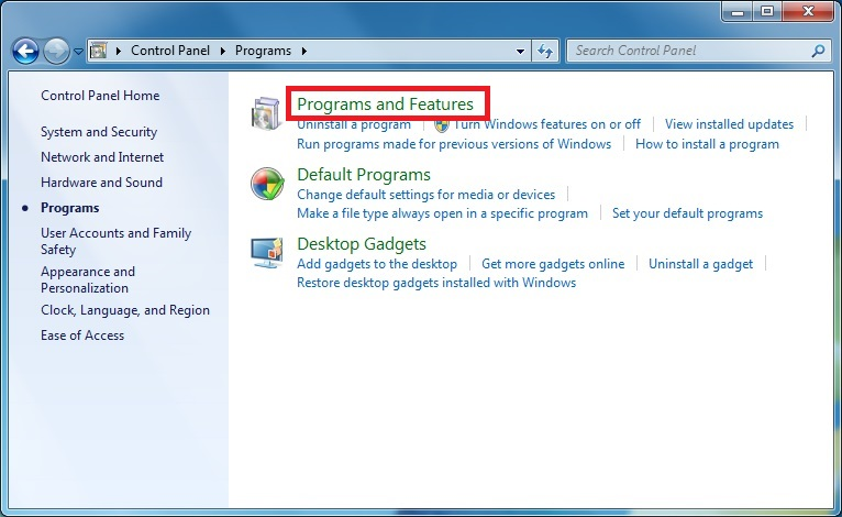 "Screen shot of the Programs panel in the control panel indicating the location of the ""Programs and Features"" button"