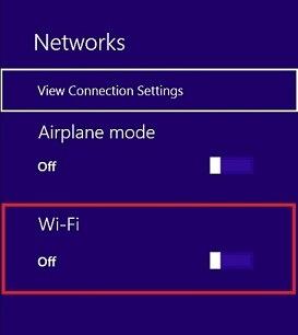 Location of Wi-Fi slider