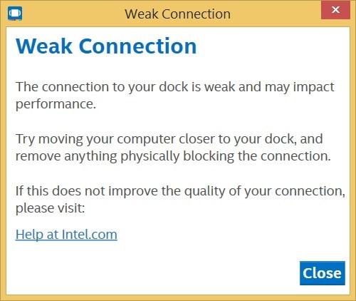 """Screenshot of """"Weak connection"""" error"""