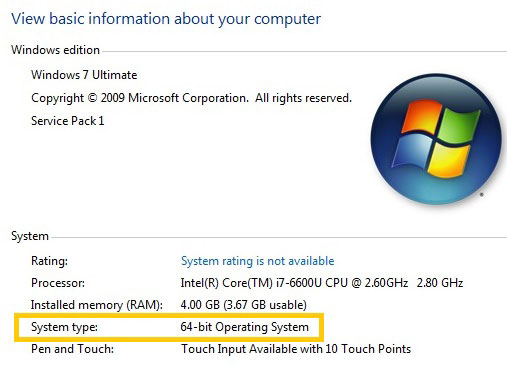 Windows 7 System type