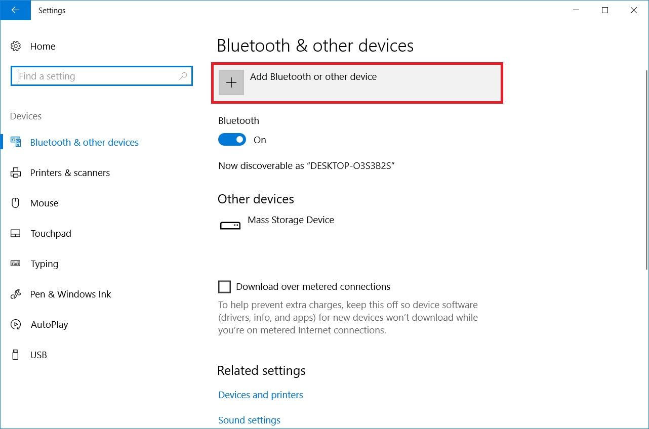 Pair or Add New Bluetooth® Wireless Technology on Windows® 10
