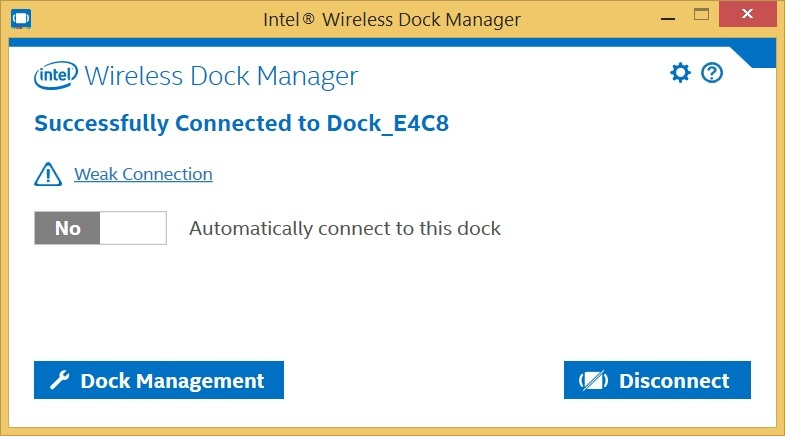 Successfully Connected to Dock example image