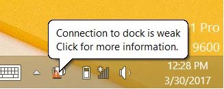 "Screenshot of ""Weak connection"" error in taskbar"