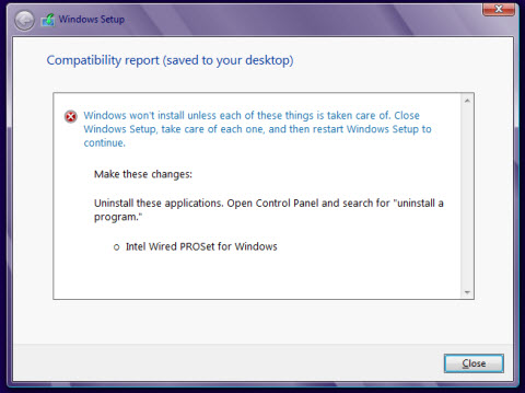 Upgrade to Windows 8* Blocked Because of Intel® PROSet for Windows*