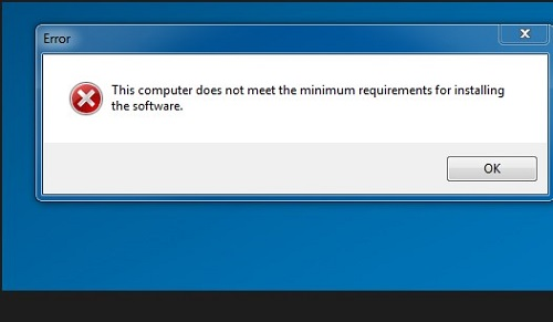 this computer does not meet the minimum requirement for installing software