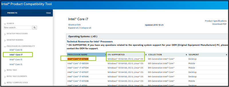 Intel Product Compatibility Tool