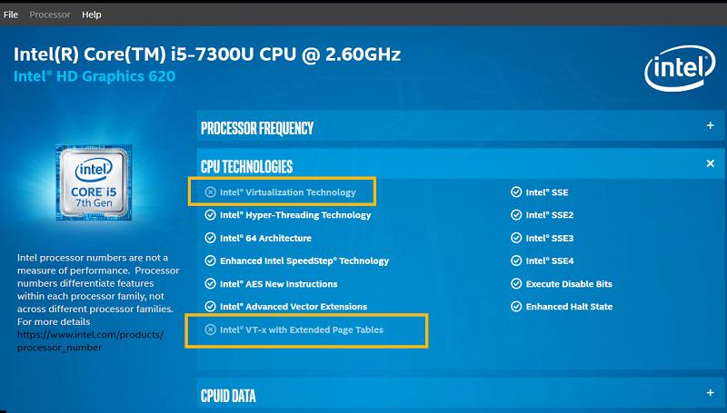 La virtualisation Intel n'est pas disponible