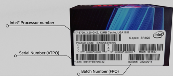 Processor number, serial number, and batch number