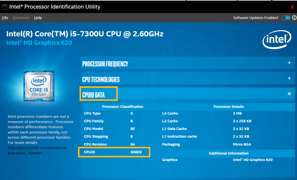 Intel® Processor Identification Utility