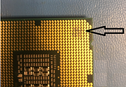 Foreign material on the processor's land pads