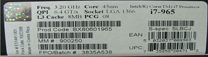 Processor box label