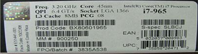 Processor box label