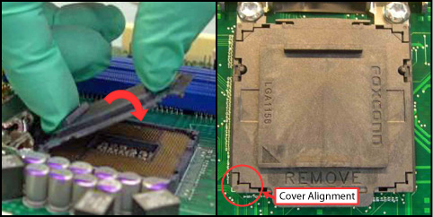 "Hold cover and move gently ""side to side"" to feel the play within the cover and the LGA115x Socket"