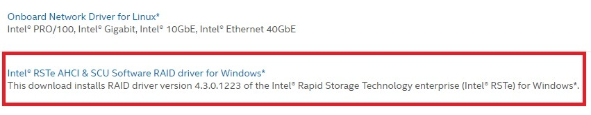 Intel RSTe AHCI & SCU Drivers for PC