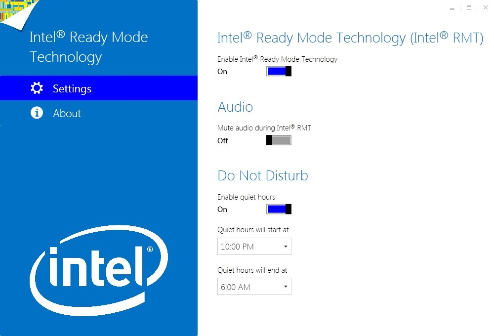 Image depicting what the configuration utility screen looks like if Intel ready mode technology is enabled