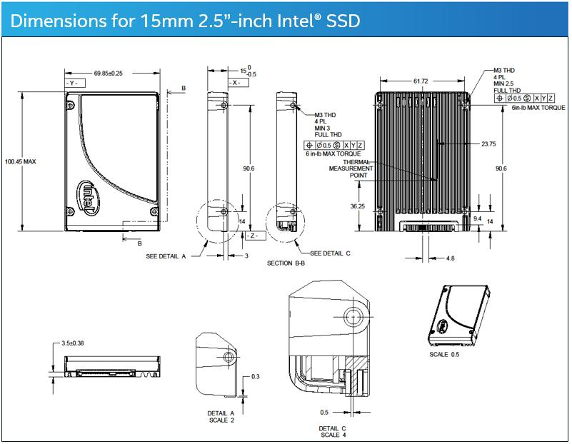 Dimensions for 15mm 2.5-inch Intel® SSD