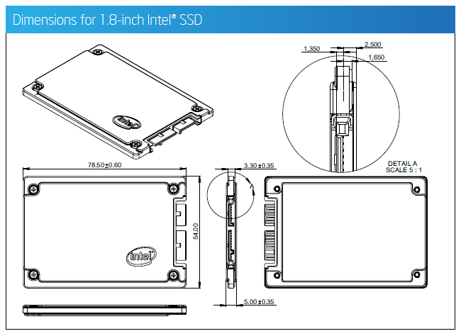 Dimensions for 1.8-inch Intel® SSD