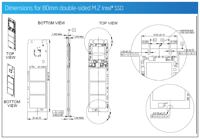 Dimensions for 80mm double-sided M.2 Intel® SSD
