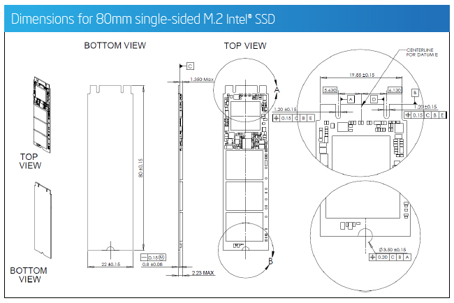 Dimensions for 80mm single-sided M.2 Intel® SSD