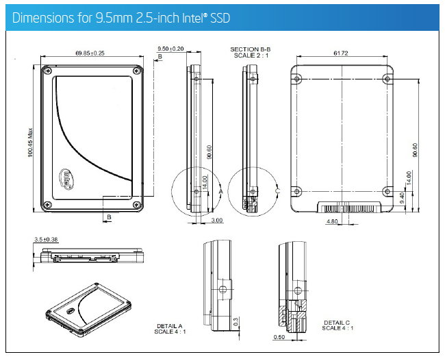 Dimensions for 9mm 2.5-inch Intel® SSD