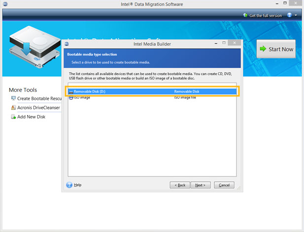 Intel® Data Migration Software screenshot with drive selected