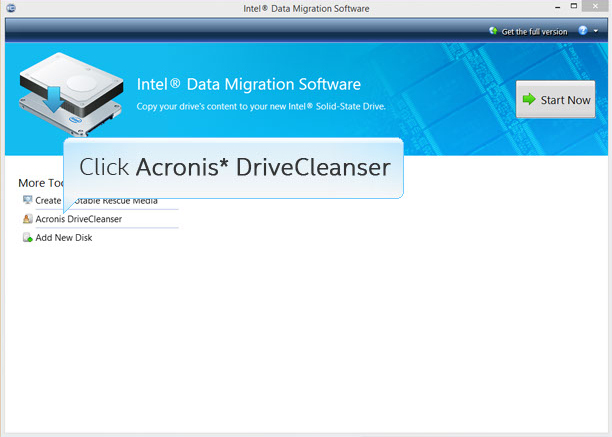 Intel® Data Migration Software screenshot with Acronis DriveCleanser